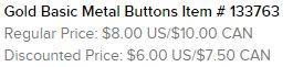 Gold Metallic Buttons Text