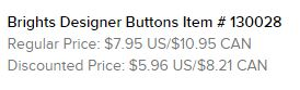 Brights designer buttons text