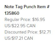 Note Tag Punch Text