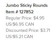 Jumbo sticky rounds text