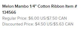 Melon Mambo Cotton Ribbon Text
