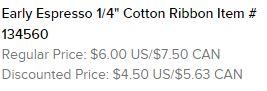 Early Espresso Cotton Ribbon Text
